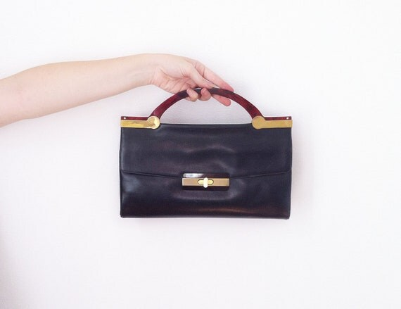 Vintage Handbag navy blue Leather