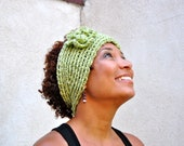 Crochet Winter Headband Green, Double Thick Flower Ear Warmer