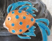 Reserved for SabineVintage Orange Polka Dot Signed Fish Brooch/Pendant