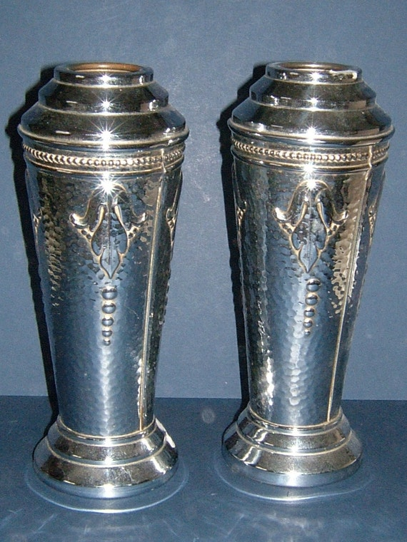 A Pair of Edwardian Art Nouveau Hammered Silver Metal Vases - Made in England