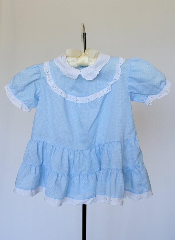 Girls Blue Swiss Dot Play Dress - Toddler, Baby
