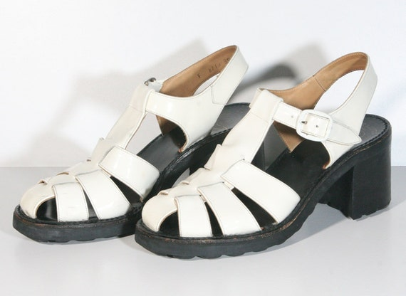 Chunky White and Black Shiny Patent 90s Sandals - US Size 7 / French Size 39