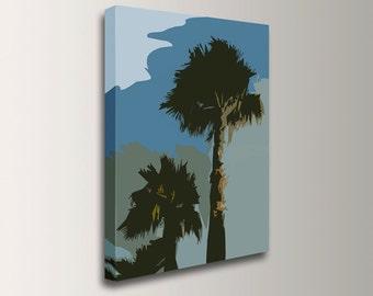 "Beach Art - Coastal Decor - Canvas Print - Palm Trees and Sky - Wall Art - "" Palm Desert """