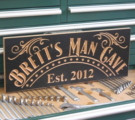 Handmade Man Cave Signs : Custom man cave sign guy gift rustic carved
