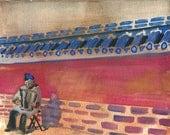 Accordionist at Temple of Heaven in Beijing, China  - original art watercolor painting
