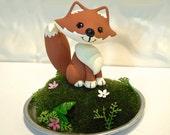 Woodland Fox Cake Topper - Custom Cake Topper - Birthday or baby shower cake topper- Animal cake topper - birthday celebration