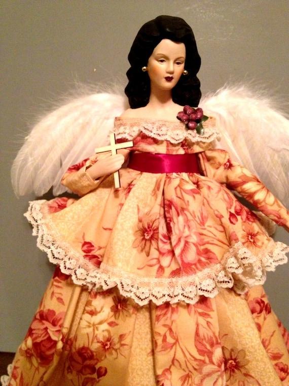Latina Vintage Style Christmas Tree top Angel - Handmade Angel Treetopper Spanish Inspired Doll Free Personalization