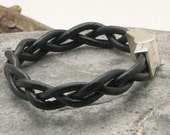 FREE SHIPPING. Couple leather bracelets. Black leather bangle braided couple bracelets with silver plated magnetic clasps. Set of two.