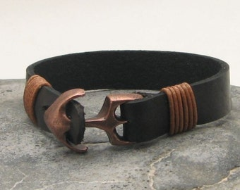 EXPRESS SHIPPING Gift for him.Men's leather bracelet.Black flat leather men bracelet with copper plated anchor clasp.Mens leather bracelet.