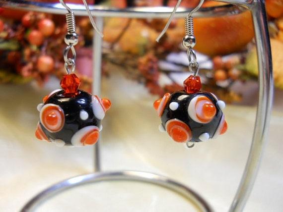 Lampwork Earrings Halloween Orange and Black