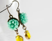 Seafoam and Daffodil Yellow Flower and Drop Earrings