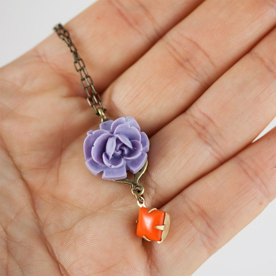 Purple and Orange Flower and Drop Necklace