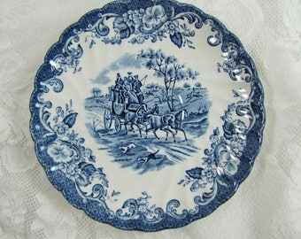 Coaching Scenes- Johnson Bros Ironstone Hunting Country- Vintage Teacup and Saucer- Blue and White- Made in England