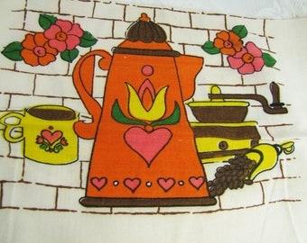 Coffee Pot and Teapot Vintage Linen Kitchen Towel- Bright 1970's colors