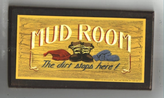 Rustic Primitive MUD ROOM Sign Dirt Stops Here Plaque  Retro Primitive Folk Art Decor Sign Free Shipping