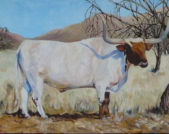 Brown & White Longhorn