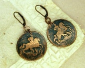 Copper Coin Earrings - Antique Style
