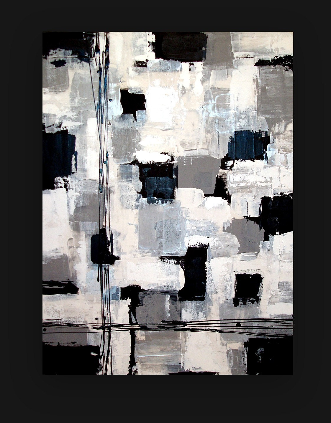 Black and white acrylic abstract painting by orabirenbaumart for Abstract painting on black canvas