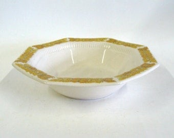 Independence Ironstone Yellow Bouquet Serving Bowl, Octagon Shaped Vegetable Serving Bowl, Interpace Japan