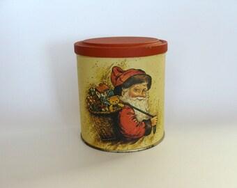 Retro Tin Canister, Litho Santa Holiday Tin, Christmas Tin, Collectible Holiday Tin Canister, Holiday Decor