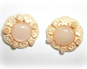 Celluloid and Moonglow Pale Peachy Pink Flower Clip On Earrings