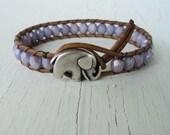 Purple Wrap Bracelet, Elephant Bracelet, Boho Chic, Lavender Leather Wrap Bracelet, Rustic Cowgirl Jewelry, Bohemian Style, Baby Elephant