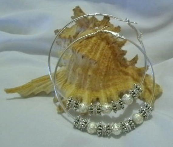 Beaded Silver Hoop Earrings - 70 mm