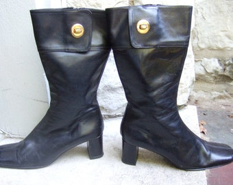 Vintage Black Leather Womens Boots Made in Italy US Size 7 1/2 B