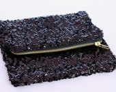 Black Sequin Fold Over Clutch Purse
