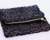 Black Sequin Fold Over Clutch Purse