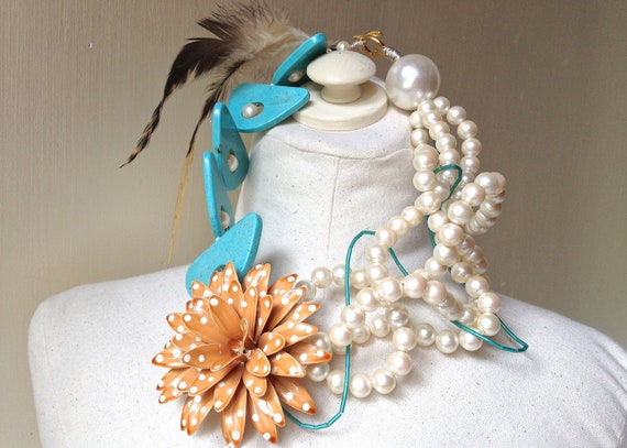 Flower Brooch Feather Pearl Polka Dot Necklace in Turquoise, Orange, Brown, & cream featuring Statement Jewelry by ZILLAS QUEEN