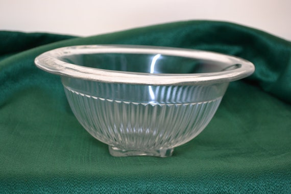 Vintage Glass Squared Bottom Bowl - Ribbed Sides - Wide Lip