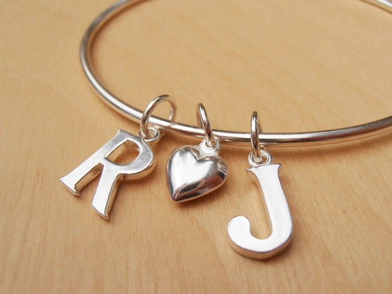Silver Monogram Bangle With 2 Initials & Silver Heart - Personalized Wedding Or Engagement Gift, Children's Names - Sterling Silver