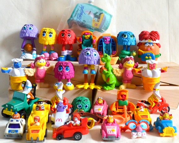 RESERVED Vintage McDonald's Toys 1980's, 90's Lot of 32 Happy Meal collectible pvc plastic Cars, Ronald, Birdie, Mac Tonight, Fry Guy & More