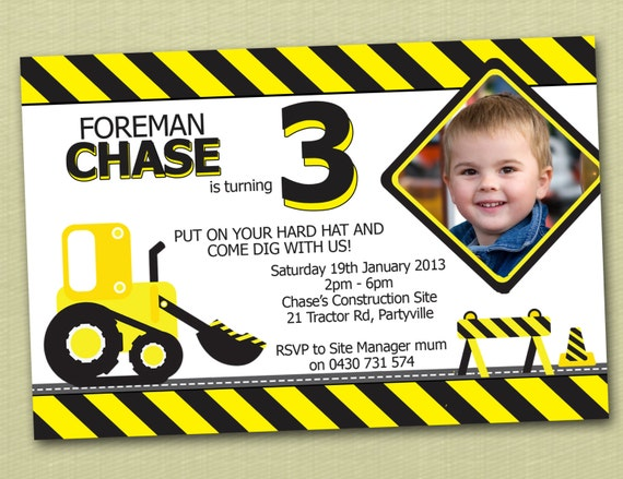 Construction Themed Birthday Invitations You Print