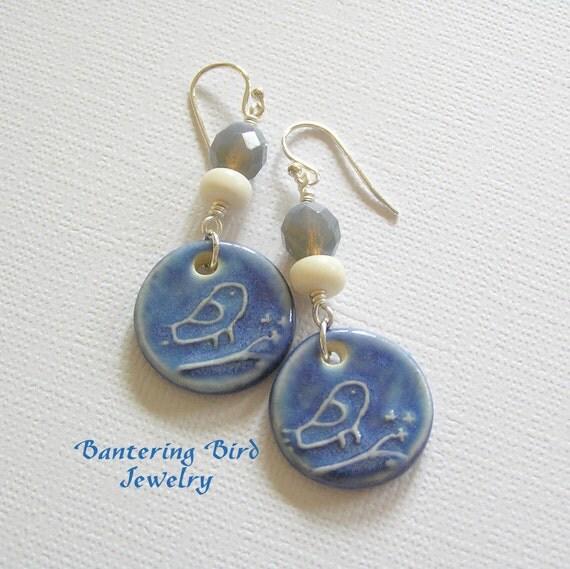 Blue Bird Earrings with Czech Glass Ceramic Pottery Charm Dangle. Whimsical Beaded Jewelry