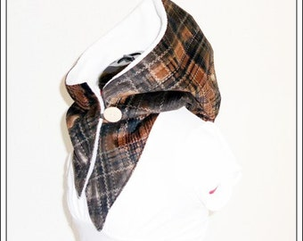 Hooded scarf - corduroy Brown retired