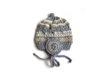 Baby Hat, Organic Baby Bonnet, Baby Beanie, Newobrn Bonnet, Earflap Hat, Size 0 Month, Material: 1/2 Silk & 1/2 Wool, Plantcolor Dyed