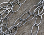 Antique Silver Metal Flat Fancy Oval Link Chain 30 inches