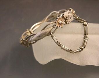 Vintage Tibetan silver hinged bracelet