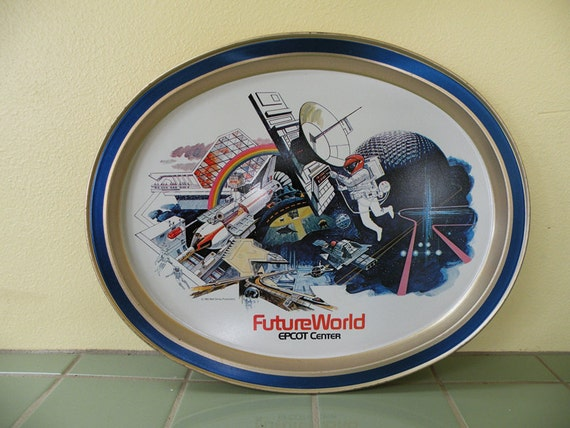 Epcot Center Future World Souvenir Tray // Disney Memorabilia Metal 80s