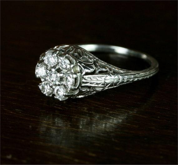 Edwardian .35 Carat Diamond Flower Cluster Filigree Diamond Engagement Ring / 14k White Gold
