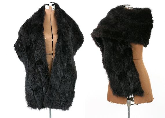 1940s Vintage Black Fur Scarf / Stole / Wrap