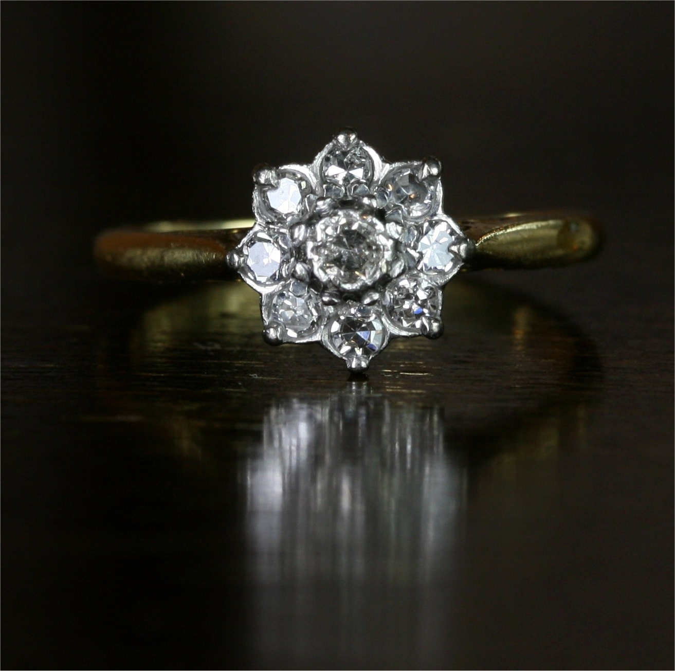 Edwardian Flower Cluster Diamond Engagement Ring 18k Yellow
