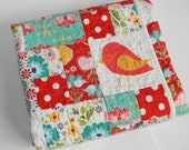 Baby Girl Quilt Red and Turquoise Bird and Flower