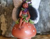 Handmade Ooak Ceramic Hawaiian Fairy Girl on Mushroom