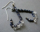 SALE!!!! ==> Sterling Silver-Wrapped Distressed Brass Earring Loops with Blue Fiber and Crystals