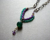 Green Agate and Purple Fabric-Wrapped Pendant with Brass Oxidized Chain and Handmade Clasp