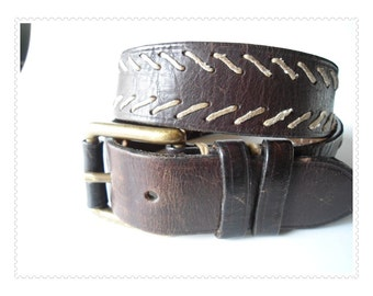 "BOHO Brown Leather Belt with String Stitching Brass Buckle Western Hippie Size 30-31 S M 1.5"" wide"