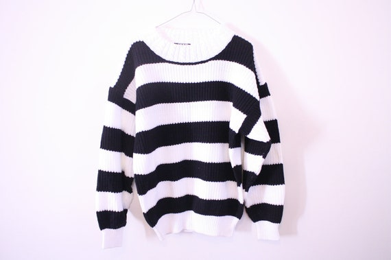 SALE Unisex Bold Black and White Striped Knit Slouchy Sweater